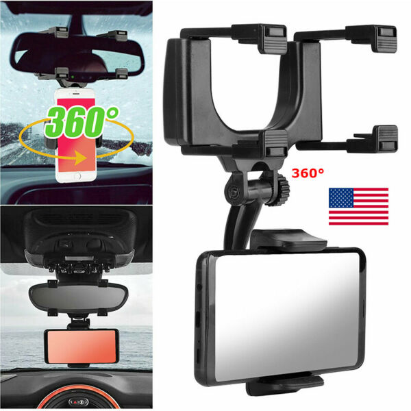 360° Rotation Universal Car Rear View Mirror Mount Stand GPS Cell Phone Holder $11.99