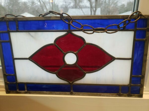 """Vintage Stained Glass Window Hanging Panel BLUE rectangle red flower 16quot;x 9"""""""