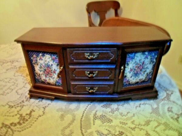 Vintage Large Wood Jewelry Chest *6 Drawers *
