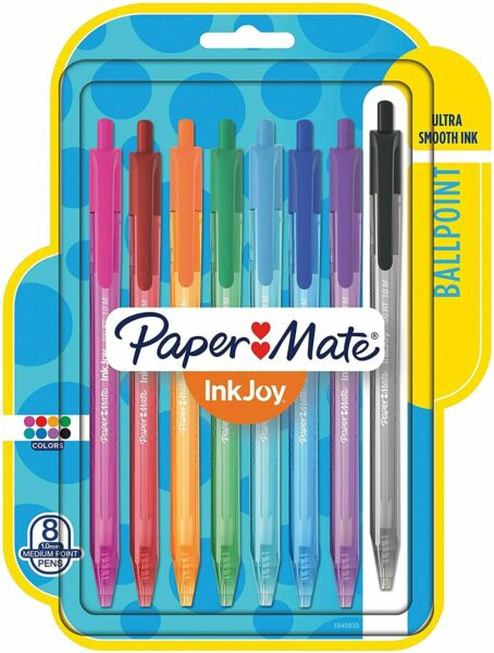 Paper Mate InkJoy 100RT Retractable Pens Medium Point Assorted Ink 8 Pack