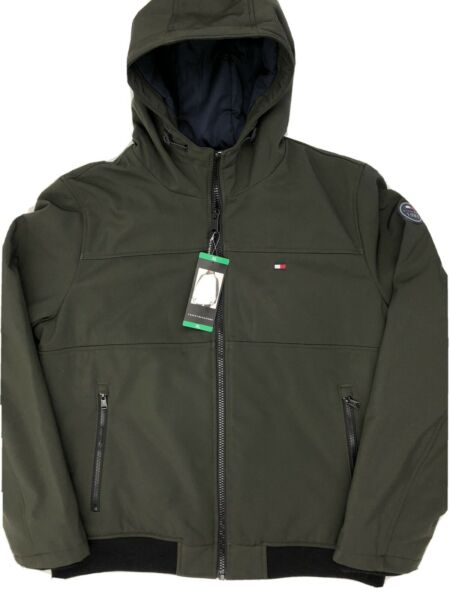 Tommy Hilfiger Men#x27;s Softshell Bomber Jacket Hooded Olive Green XL $44.95