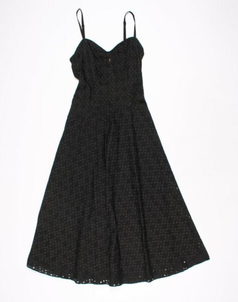 Vintage Betsey Johnson Black Eyelet Sleeveless Midi Dress Size 4