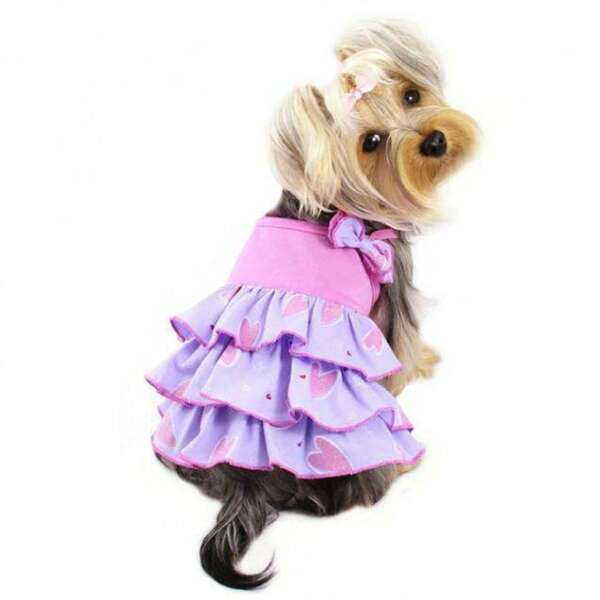 Pink amp; Purple Dog Dress With Shimmering Hearts amp; Ruffles By Klippo $23.98