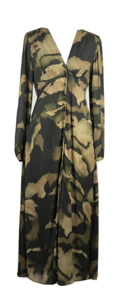 NWT MASSIMO DUTTI Camouflage Green Brown Soft Colors Dress Size 6