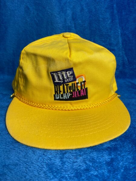 Vintage Miller Lite Beat The Heat 80s Snapback Hat Pre Owned Rare Yellow $14.99