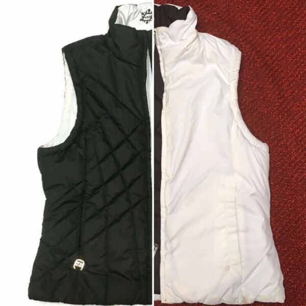 Vintage Y2K Free Country quilted reversible puffer vest black white pockets M $29.99