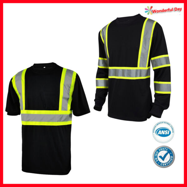 Lamp;M Hi Vis T Shirt Reflective Safety Black Short Long Sleeve HIGH Visibility