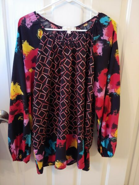 Suzanne Betro Weekend Women#x27;s 1X Top Multi Color $12.00