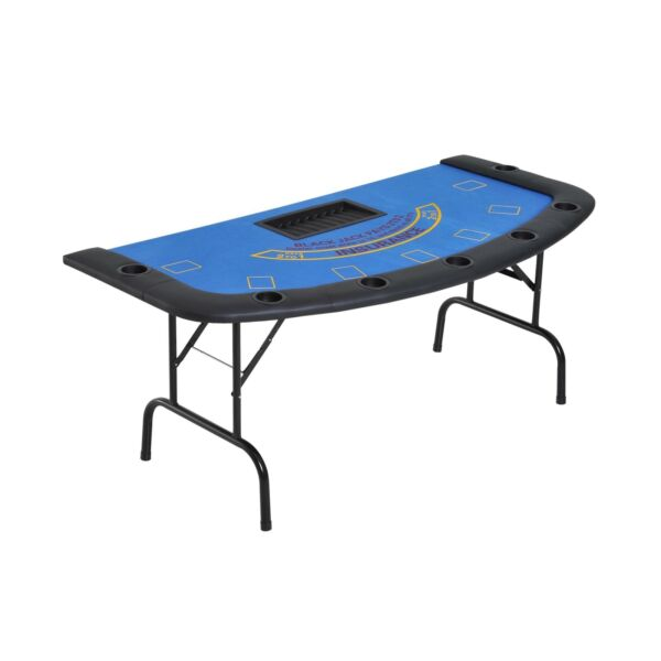 Soozier 72quot; Folded 7 Player Poker Blackjack Table with Chipamp;Cup Holder Blue $269.40