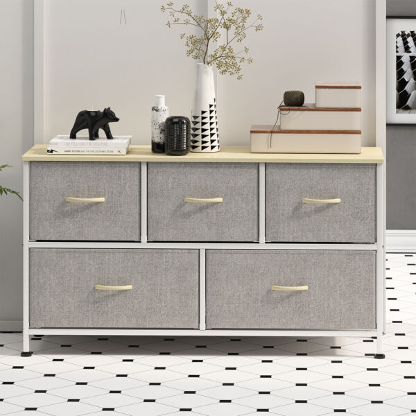 5 Drawers Modern Dresser Chest of Drawers Contemporary Furniture Wooden Storage $194.99