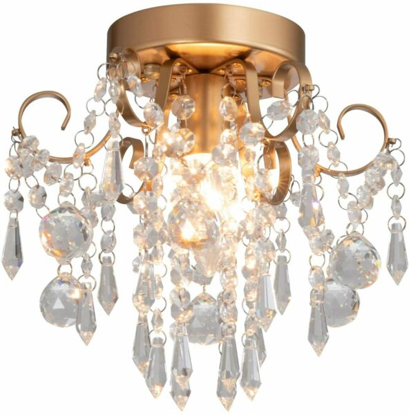 QS Mini Chandelier Crystal Ceiling Light Small Flush Mount ChandelierEntryway