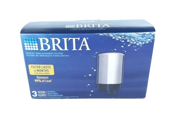 Brita 3 Pack Replacement Faucet Water Filters #FR 200 Chrome Removes Lead