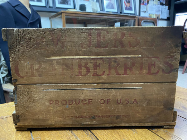 Vintage New Jersey Cranberries Wooden Crate Produce of USA Wood Box
