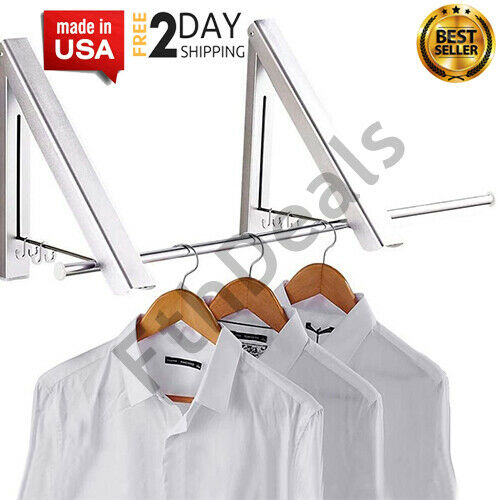 Folding Clothes Hanger Retractable Wall Mounted Drying Rack Home Indoor HolderUS $30.32