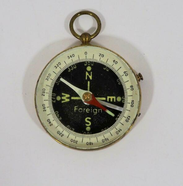 Vintage Stesco Foreign Small Brass Pocket Hiking Compass