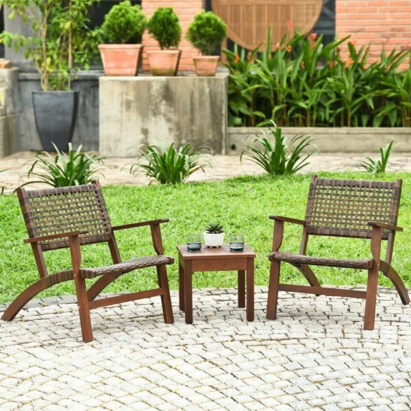 Patio Furniture Sets Clearance Sale Bistro 3 Piece Table Chairs Outdoor Wooden