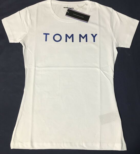 Exclusive Woman's ladis Tommy White Blue Size S T shirt Slim Fit. GBP 13.99