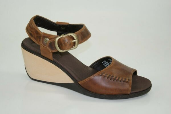 Timberland Sandals Lascaux Ankle Strap Peep Toe Slingback Wedges Women New $102.23