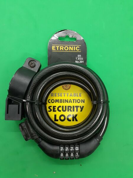 ETRONIC Security Lock 6 ft Resettable Combination Weather Rust Proof Lock #201 $13.99