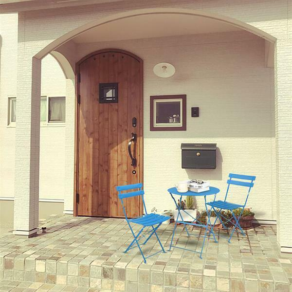 Folding Outdoor Furniture Patio Sets 3PCS Bistro Set of Foldable Table amp; Chairs
