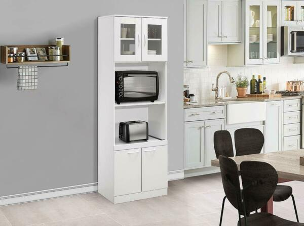 Kings Brand Furniture Tall Kitchen Pantry Microwave Storage Cabinet White