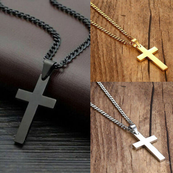 Cross Pendant Necklace Silver Stainless Steel Unisex#x27;s Chain Crucifix Men Simple