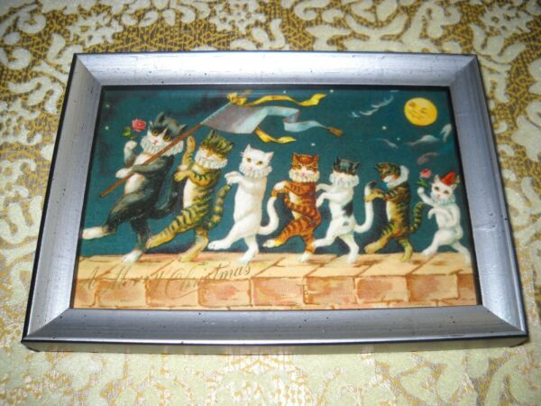 CHRISTMAS CAT PARADE ON WALL 4 X 6 silver solid WOOD framed Victorian art print $14.99