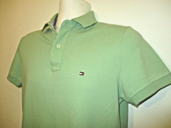 TOMMY HILFIGER Men#x27;s Polo Shirt XSmall Custom Fit GREEN TOMMY MEN#x27;S POLO EUC $11.88