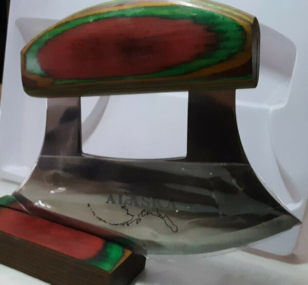 Alaskan ULU Knife Exotic Handle with Stand included New open Box