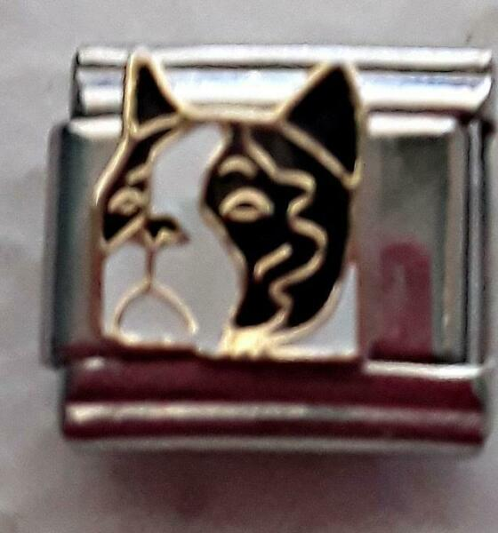 quot;BLACK AND WHITE DOGquot; IN MULTI COLORS ITALIAN 9MM CHARM PET FAMILY MEMBER $0.99