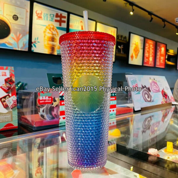 Starbucks China Valentine#x27;s 2021 Rainbow Diamond Studded Tumbler CUP In stock