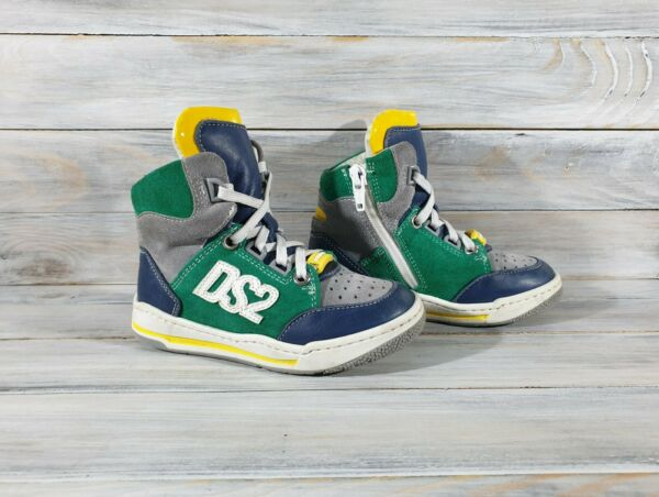 Dsquared D2 Dsquared2 Kids Hi Top Leather Sneakers Made In Italy Multicolor $44.99