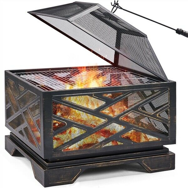 26in Outdoor Fire Pit Metal Stove Fire Pit Wood Burning Bronze W Cooking Grate