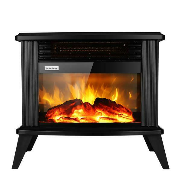 New Freestanding Electric Fireplace Heater Stove 1400W Realistic Flame Effect