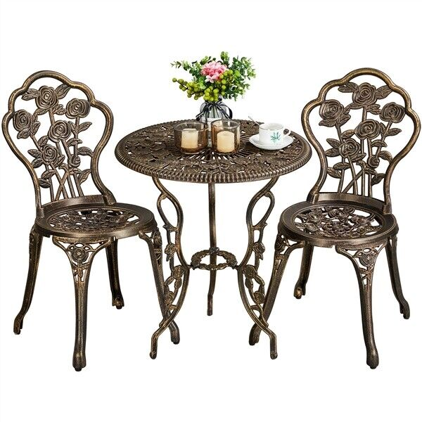 3Pcs Outdoor Patio Bistro Set w Rose Design Aluminum Table Set Rust Resistant $132.99