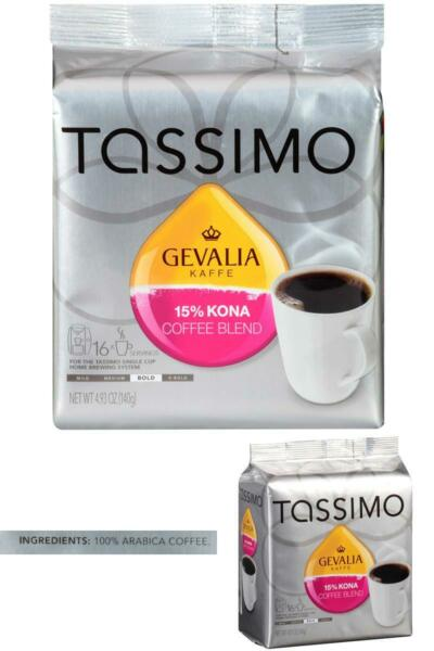 Tassimo Gevalia 15% Kona Blend Bold Dark Roast Coffee T Discs for Tassimo Single