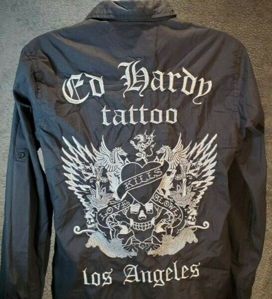Embroidered Ed Hardy Tattoo Los Angeles Button Shirt Skull Collar amp; Cuffs Mens L $27.99