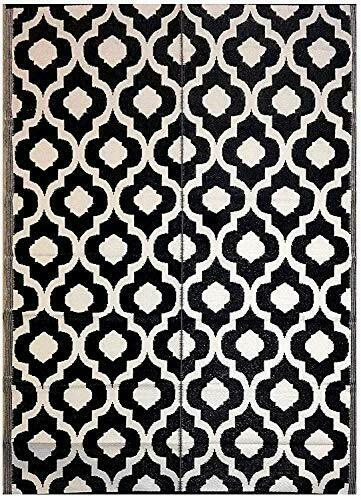 6#x27;x9#x27; Patio Rug RV mat Indoor Outdoor Rug Plastic 6 ft x 9 ft Black N White