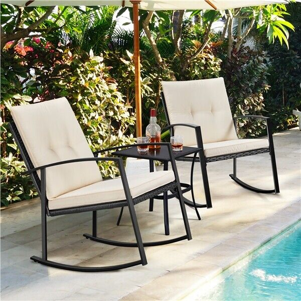 3pcs Wicker Rocking Conversation Set Patio Bistro Furniture Rattan Rocking Chair