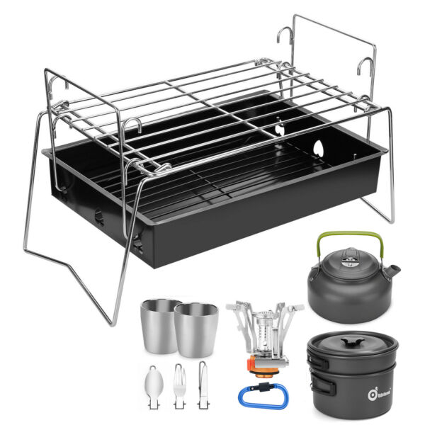 10 12pcs Camping Cookware Mess Kit Pot Pan Kettle Fork Spoon Cup Backpacking New