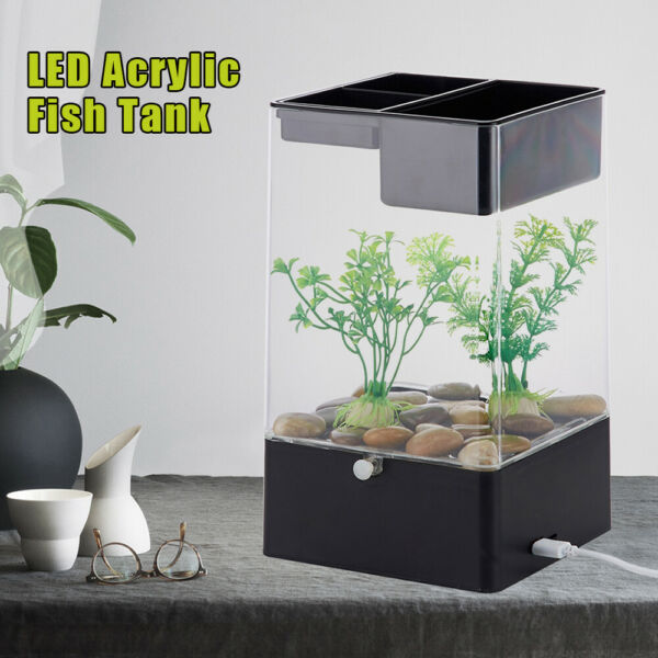 Portable Mini Desktop Fish Tank Aquarium Betta Water LED Lamp Decor $23.75