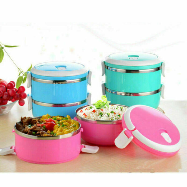 1 2 3 4 Layers Stainless Food Soup Container Lunch Storage Thermos Bento Box