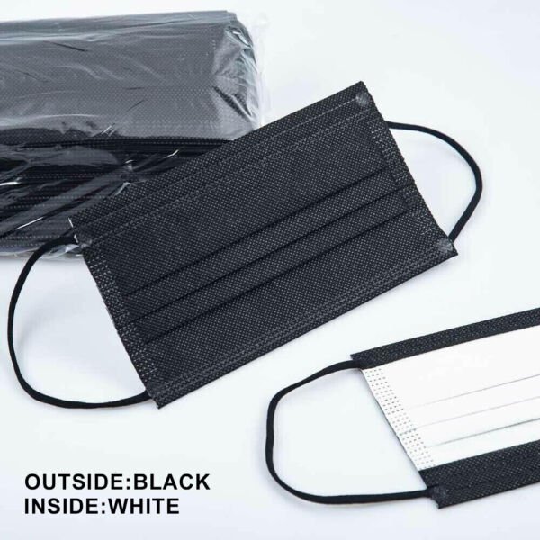 50 PCS Black white inside Disposable Face Masks 3 Ply Filter Earloop Mouth Cover $9.97