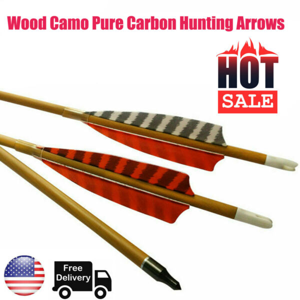 6X 30quot; Wood Camo Pure Carbon Hunting Arrows Spine 600 for Compoundbow Recurvebow $44.64