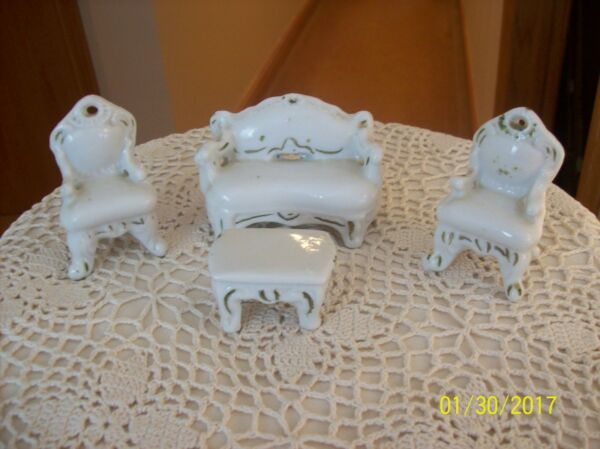Doll House Vintage Porcelain Parlor Set Coach 2 Chairs amp; Coffee Table
