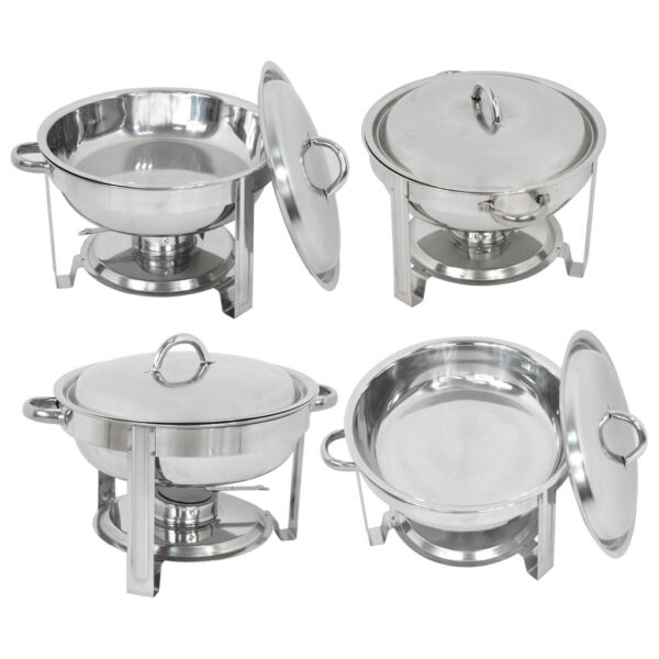Catering Stainless Steel Chafer Round 4 Pack Buffet Chafing Dish 5Qt Party Pack