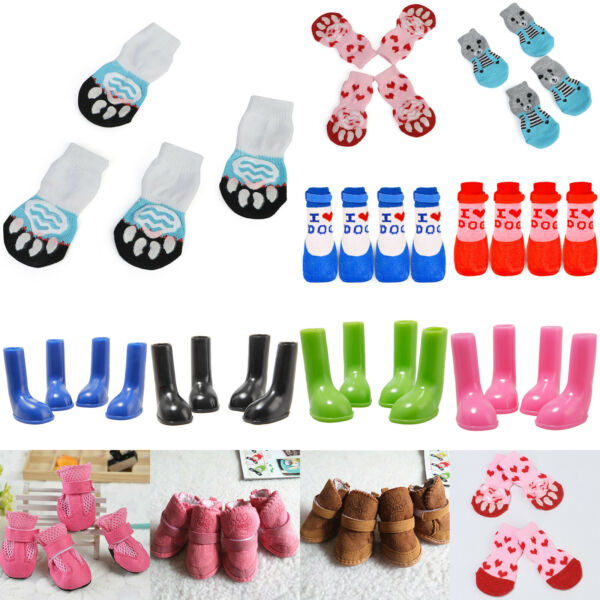 4Pcs Set Cute Dogs Foot Shoes Paw Protector Outdoor Boots Puppy Wellies Booties $6.74