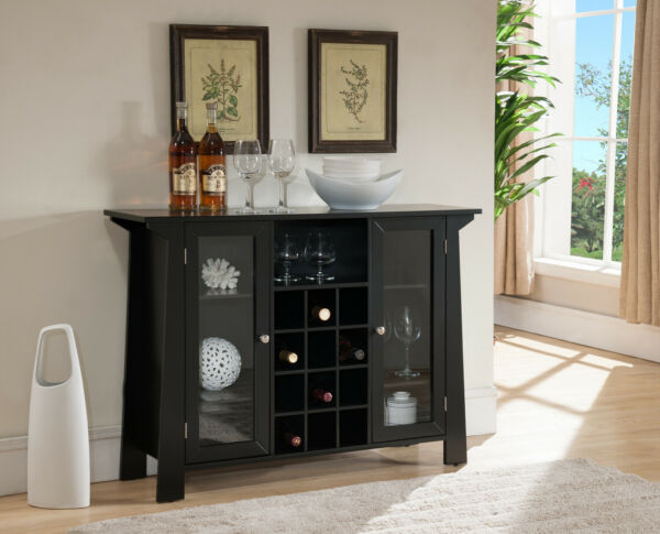Kings Brand Furniture Wood Buffet Bar Cabinet with Wine Storage Black