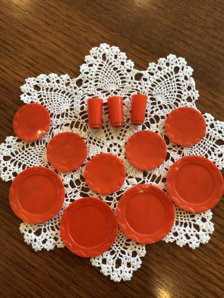 Vintage Barbie Deluxe Reading Dream Kitchen RED DISHES $22.00