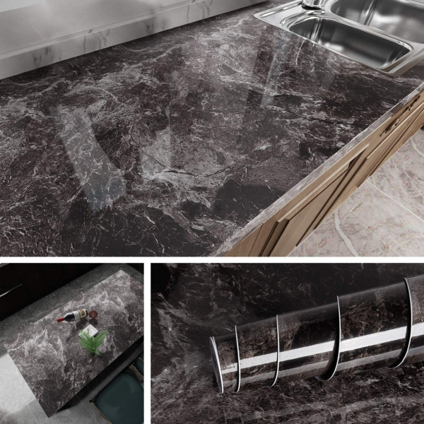 Self Adhesive Wallpaper Marble Kitchen Countertop Peel and Stick Contact Paper